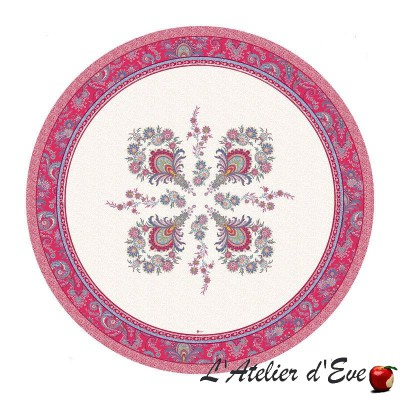 """""""Haveli raspberry"""" coated Provencal round tablecloth Valdrôme Made in France"""