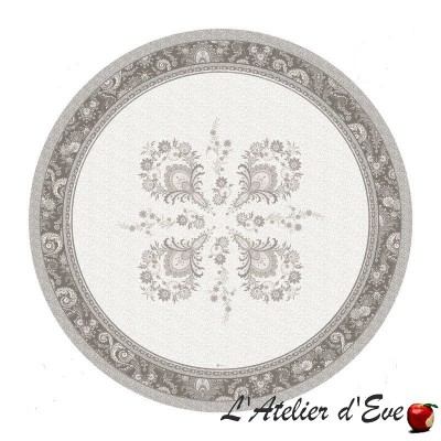"""""""Haveli taupe"""" coated Provencal round tablecloth Valdrôme Made in France"""