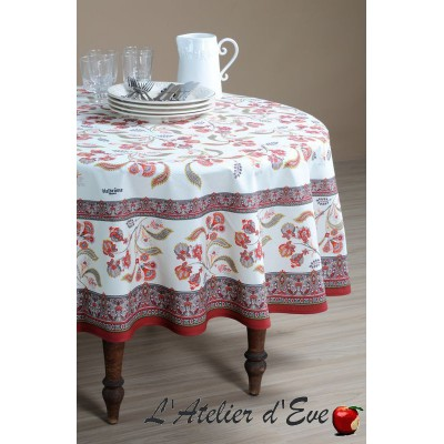 """Bastide rouge"" enduit Nappe ronde provençale Valdrôme Made in France"