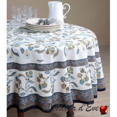 """Bastide bleu"" coated Provencal round tablecloth Valdrôme Made in France"