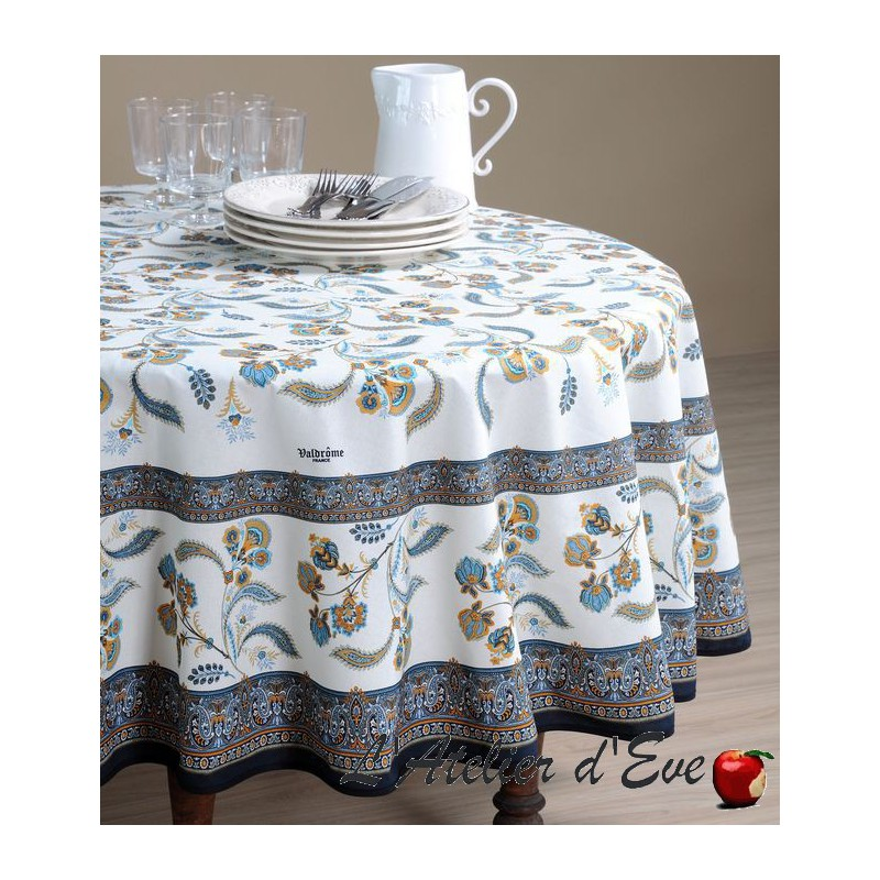 """""""Bastide rouge"""" coated Provencal round tablecloth Valdrôme Made in France"""