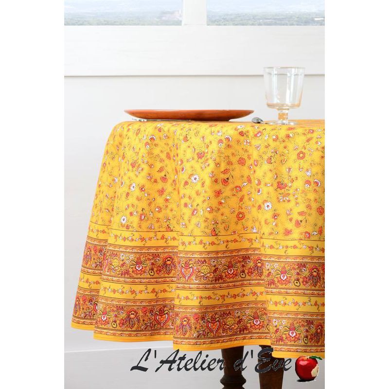 "Cotton ""yellow gentian"" round Provencal tablecloth Valdrôme Made in France"