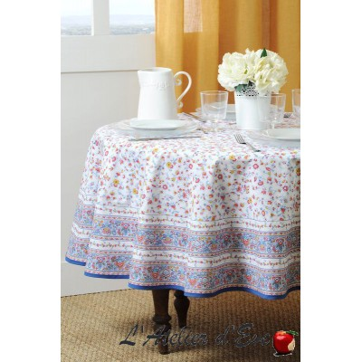 """""""Yellow Gentiane"""" coated Round Provencal tablecloth Valdrôme Made in France"""