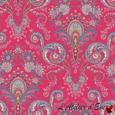 """Kalian Framboise"" Cotton fabric Valdrôme French manufacturing"