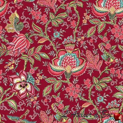 """Colombe rouge"" Tissu coton Valdrôme Fabrication française"