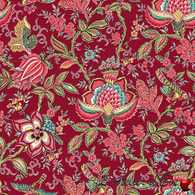 """""""Red dove"""" Cotton fabric Valdrôme French manufacturing"""
