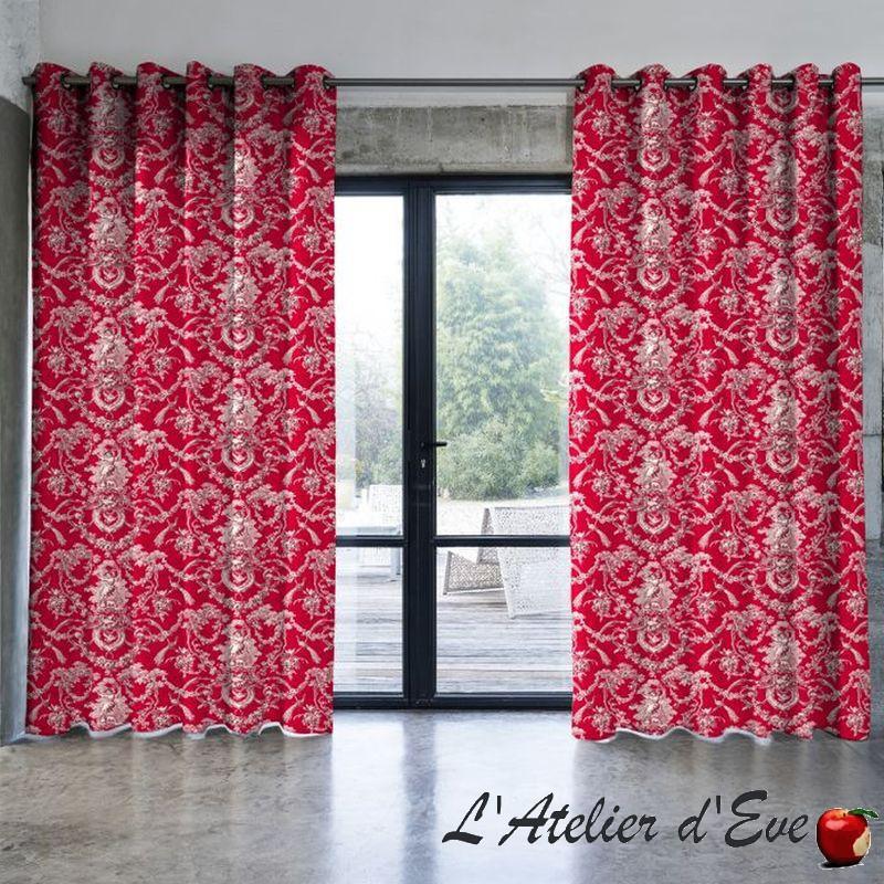 Ludivine rideau rouge sur mesure Made in France Toile de jouy 100% coton Thevenon Paris