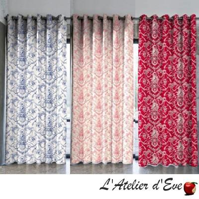 Ludivine rideau fond lagon sur mesure Made in France Toile de jouy 100% coton Thevenon Paris