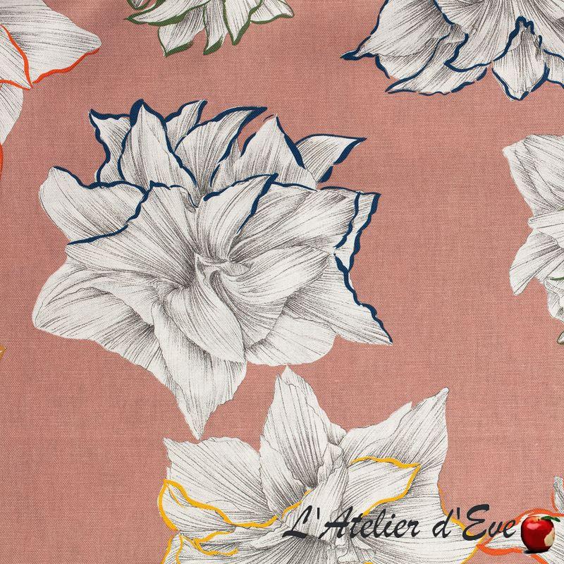 """""""Paradisiac"""" Toile de coton vieux rose fleurie grande largeur Thevenon"""