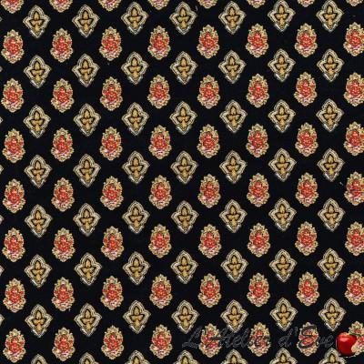 """Calisson black-yellow"" Cotton fabric Valdrôme French manufacture"