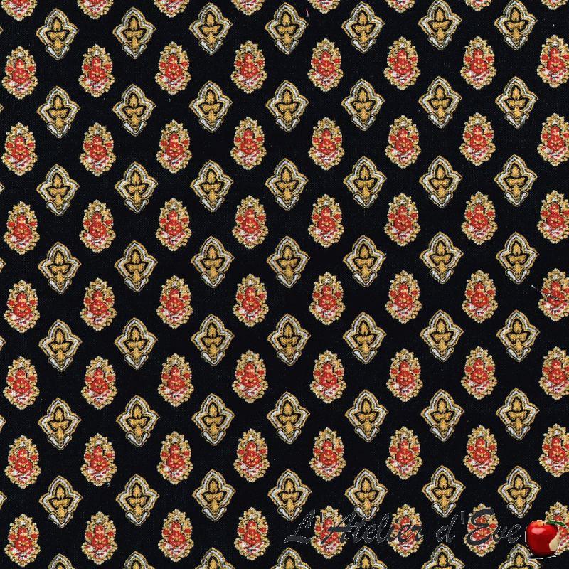 """Calisson noir-jaune"" Tissu coton Valdrôme Fabrication française"