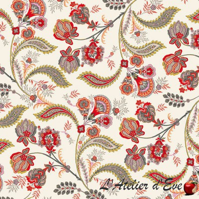 """""""Bastide rouge"""" Cotton fabric Valdrôme French manufacturing"""