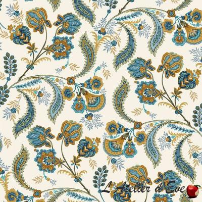"""Bastide bleu"" Cotton fabric Valdrôme French manufacture"