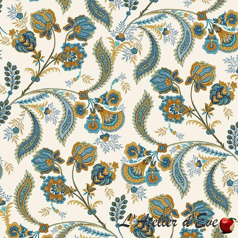 """""""Bastide bleu"""" Tissu coton Valdrôme Fabrication française"""