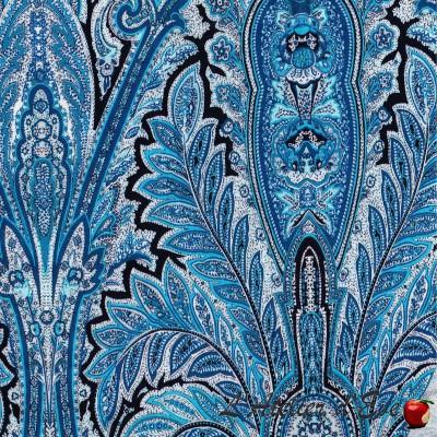 """Cachemire cyan"" Cotton fabric Valdrôme French manufacture"