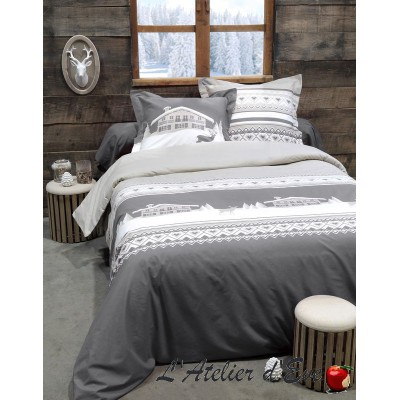 "Gray ""Chambery"" Duvet cover + 2 Reversible pillowcases 65x65cm"