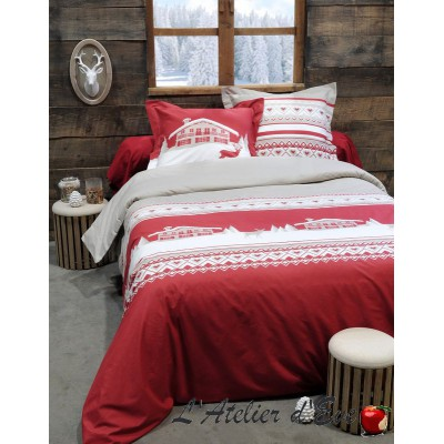 "Red ""Chambery"" Duvet cover + 2 Reversible pillowcases 65x65cm"