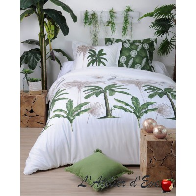 """Mayotte white"" Duvet cover + 2 Reversible pillowcases 65x65cm"