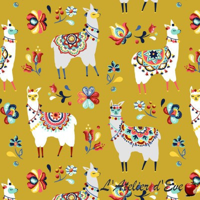 """Alpaga curry"" Tissu coton enfant oekotex Made in France"