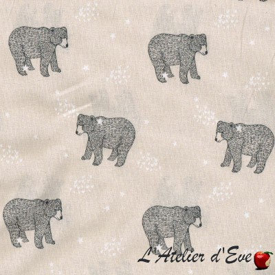 """""""Alpaca curry"""" child cotton fabric Made in France"""