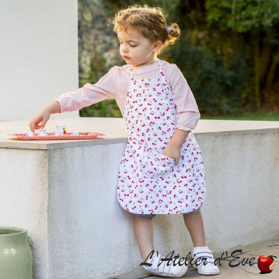 """Cerises"" Blanc Tissu coton enfant oekotex Made in France"