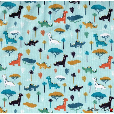 """""""Jurassic"""" celadon Percale coton enfant oekotex Made in France"""