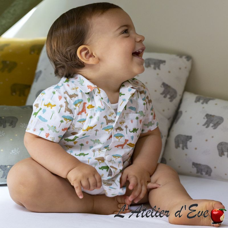 """""""Jurassic"""" blanc chemise percale coton enfant oekotex Made in France"""