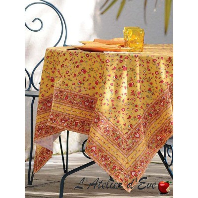"""""""Colombe rouge"""" Provencal cotton tablecloth Valdrôme Made in France"""