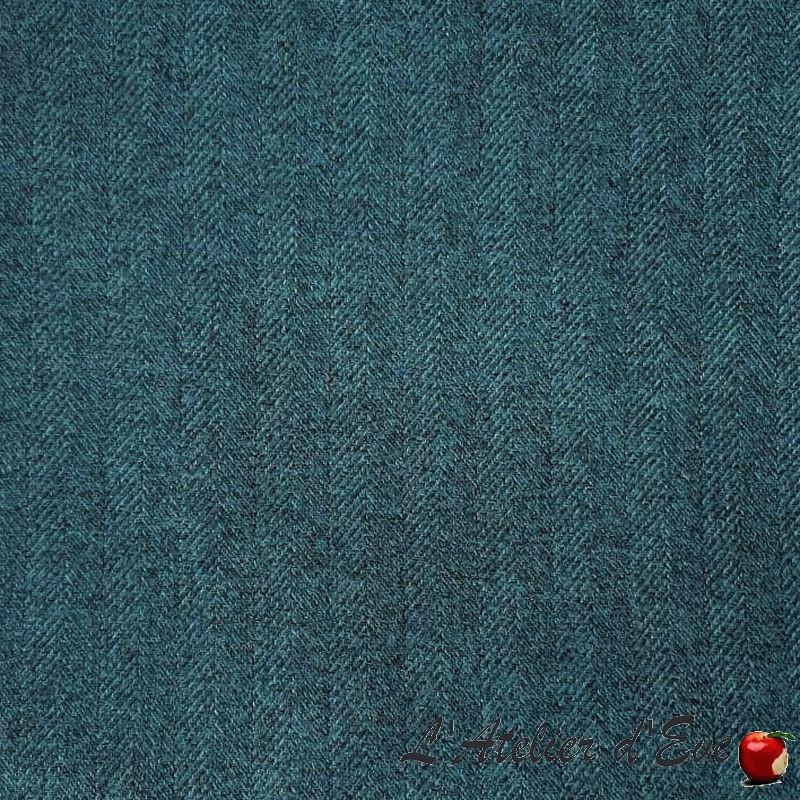 Rive gauche bleu canard, rideau à oeillets sur mesure et Made in France, tissu jacquard Thevenon