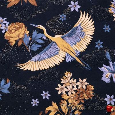 """Tsuru"" bleu nuit Toile de coton japonisante Thevenon"