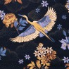 Tsuru bleu nuit Toile de coton japonisante Thevenon