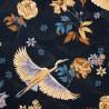 Tsuru velours bleu nuit Tissu japonisant Thevenon