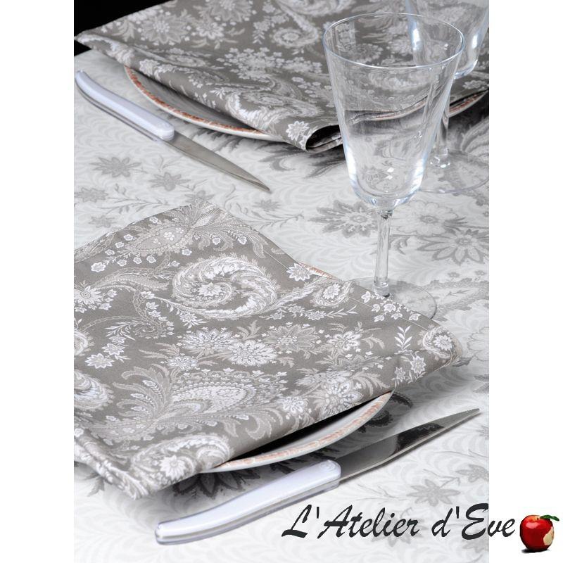 """""""Kalian taupe"""" 6 serviettes de table provençales 50x50cm tissu coton Valdrôme"""