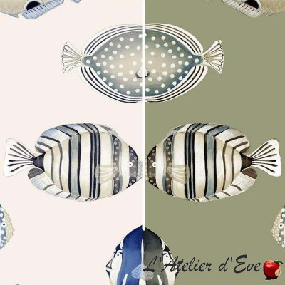 Copacabana fond lin et fond blanc Rideau à oeillets prêt à poser Thevenon Le rideau