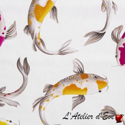 """""""Illiade"""" multicolore fond crème Toile de coton Thevenon"""