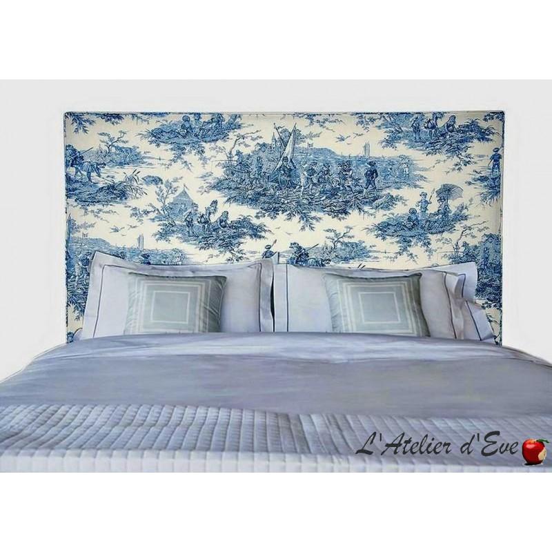 """""""Vintage"""" Tête de lit passepoilée toile de jouy histoire d'eau bleu Thevenon"""