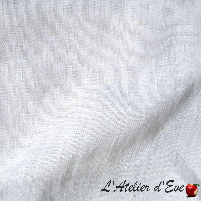 1529879 blanc Lin lavé - Tissu ameublement 100% lin uni