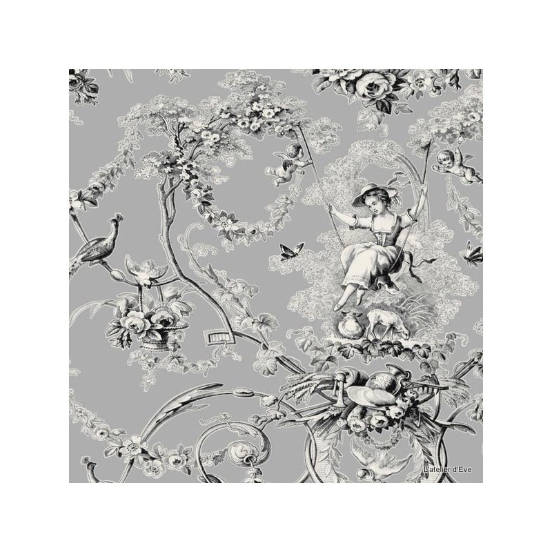 Ludivine Thévenon: Toile de jouy wide 100% cotton for the recovery of armchairs and sofas