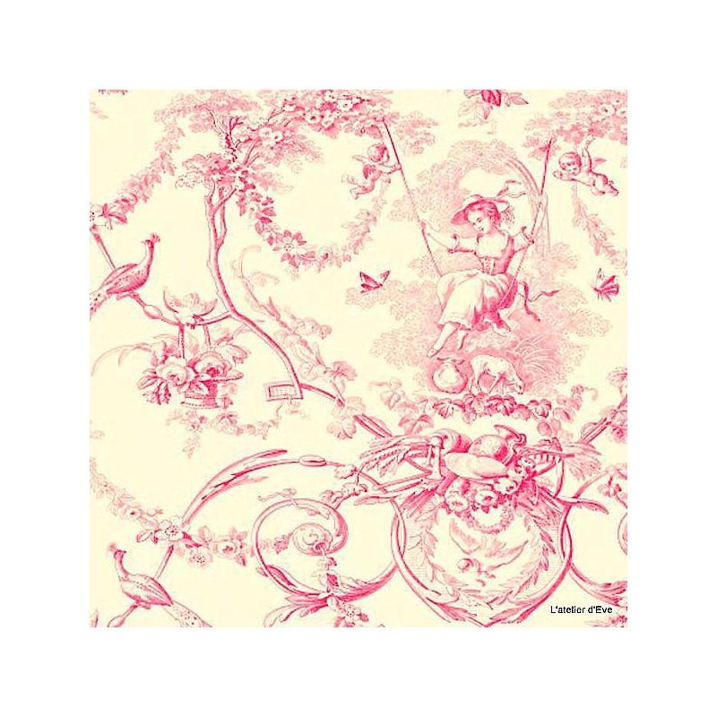 Ludivine rose fond crème Thevenon: Toile de jouy grande largeur 100% coton pour le recouvrement de fauteuils et canapés