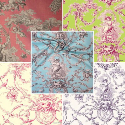 Ludivine (14 colors) furnishing fabric of jouy fabric great width for seats Thévenon