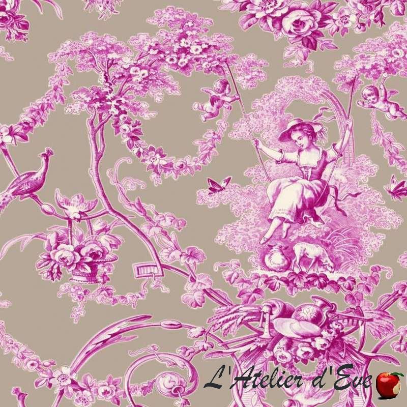 Ludivine toile de jouy fuschia fond lin d'eau Thevenon grande largeur 100% coton