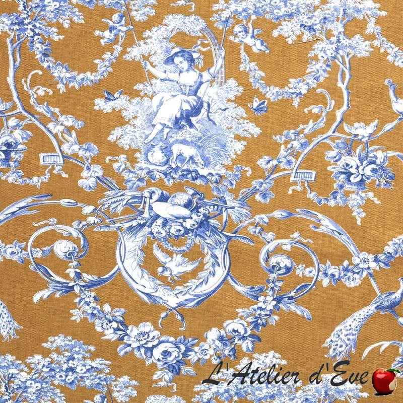 Ludivine toile de jouy bleu fond camel Thevenon grande largeur 100% coton
