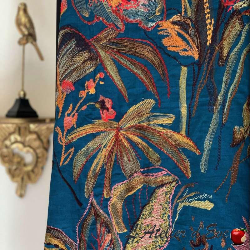 """""""Showtime"""" Rideau brodé Rideau fleuri Rideau bleu Rideau Made in France Thevenon"""