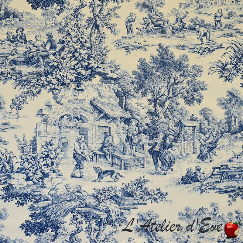 """""""Ronde villageoise"""" Toile de jouy bleu Patrimoine Casal"""