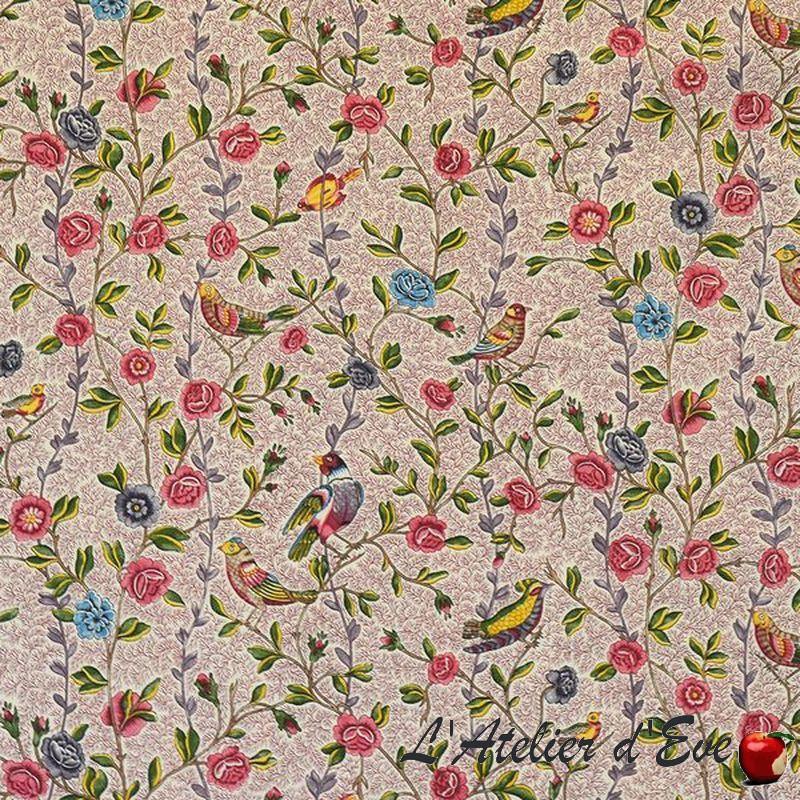 """""""Fleurs et oiseaux"""" grenat rose Toile de jouy Patrimoine Casal"""