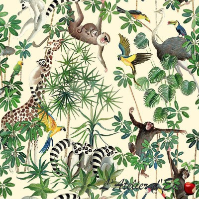 """La jungle des animaux"" Nappe enduite Made in France Thevenon"