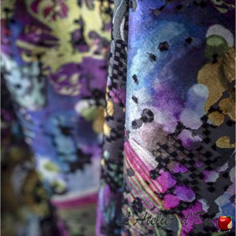 """Marsa"" multicolore Rideau à oeillets jacquard velours Made in France Casal"