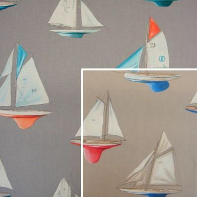 Mon beau bateau (2 coloris) Rideau a oeillets pret a poser coton motif voiliers Thevenon Le Rideau