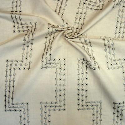Alchimie brode Rouleau toile ameublement brodee motif pois L.130cm Thevenon La piece ou demi-piece