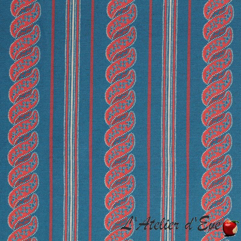 """Menerbes stripe"" provence blue Toile extérieure fantaisie Thevenon"